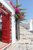 red door entry way
