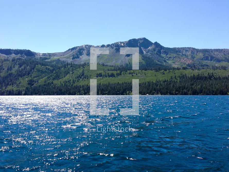 glittering water in a mountain lake