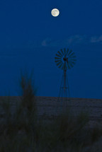 Windmill in the desert with a moonlit sky.