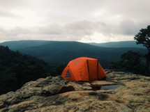 tent on a mountain top