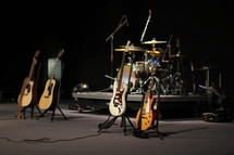 Musical instruments on a stage.