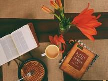 Breakfast waffles and Bible study books.