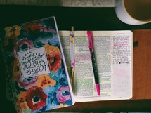 An open Bible with highlighted verses and a notebook.