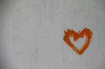 orange painted heart