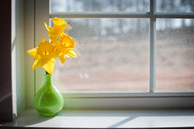Flowers in the window sill.