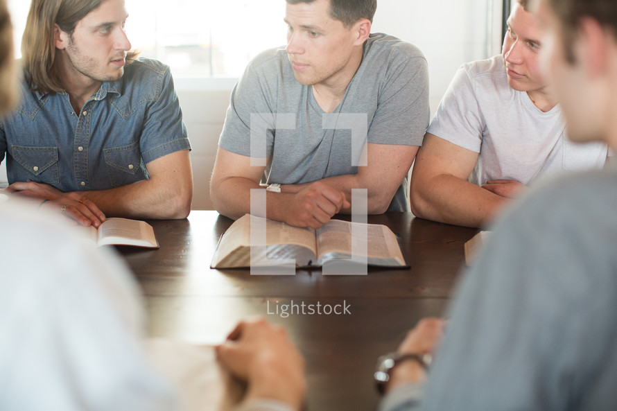 men's group in discussion at a Bible study