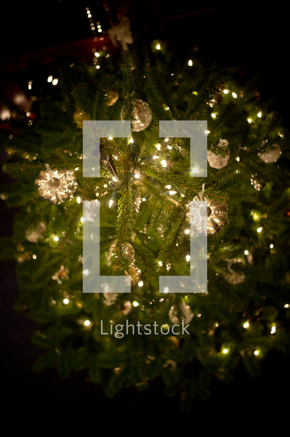 looking down onto a decorated Christmas tree