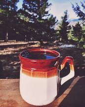 mug of coffee outdoors
