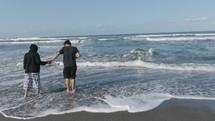 walking in the ocean tide