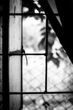 open shutters on an old window