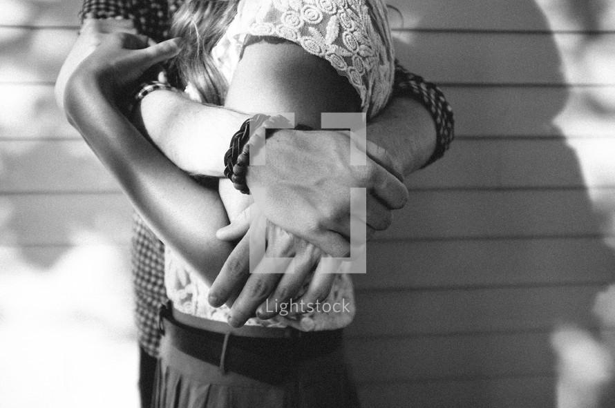 a couple embracing