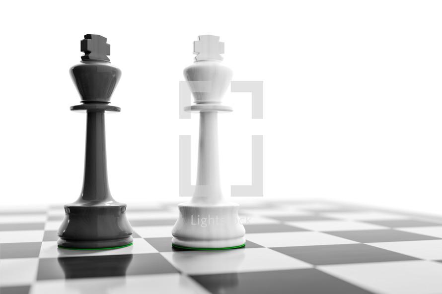 two kings, chess board