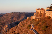 fortress wall on a mountain in India