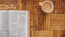 open Bible and hot chocolate