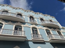 blue building with window terraces