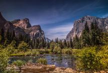 mountain lake and mountain peaks