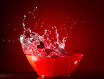 water splashing out of a bowl
