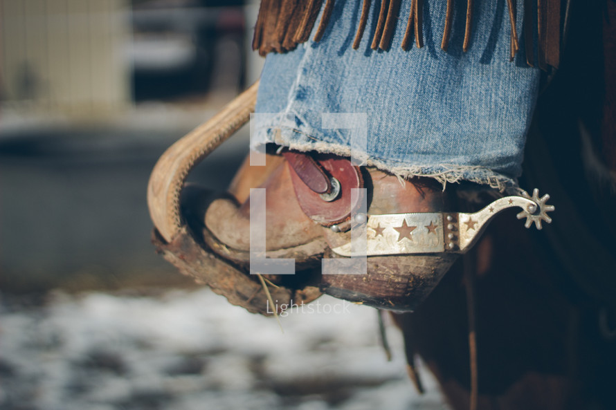 cowboy boots with a spur