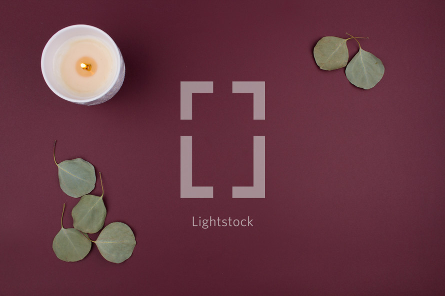 candle and leaves on a maroon background