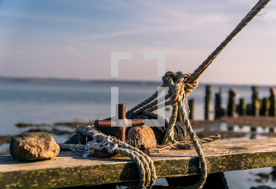 rope tied to a dock