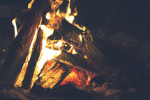 flames in a burning campfire