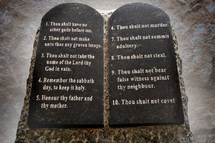 Ten Commandments given to Moses on tablets of stone