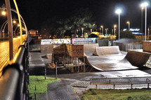 Ramps in a skate park.