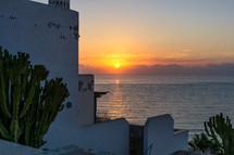 beach villa at sunset