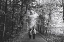 a couple standing on a path