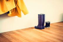 rain boots in a mudroom