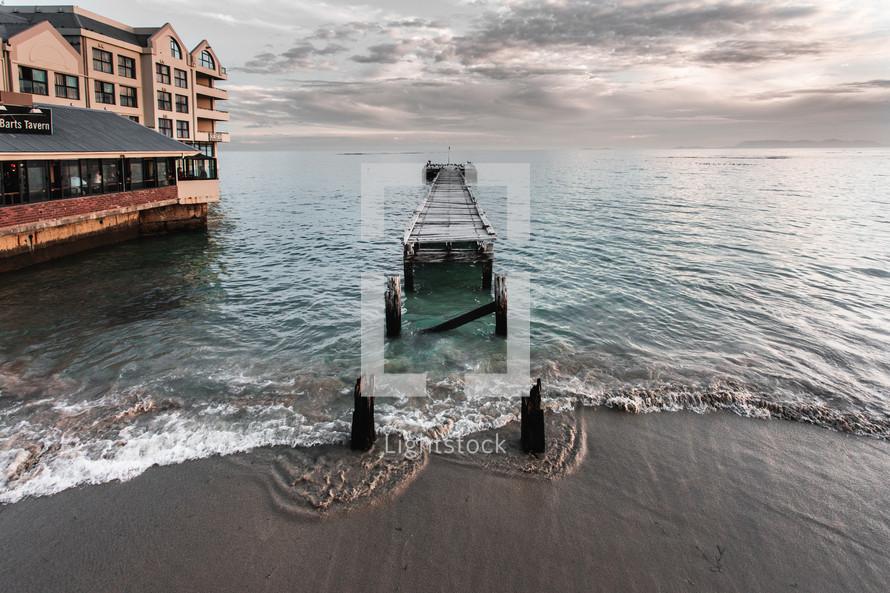 broken beach pier