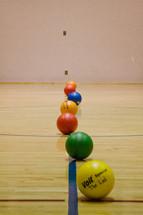 dodge balls lined up