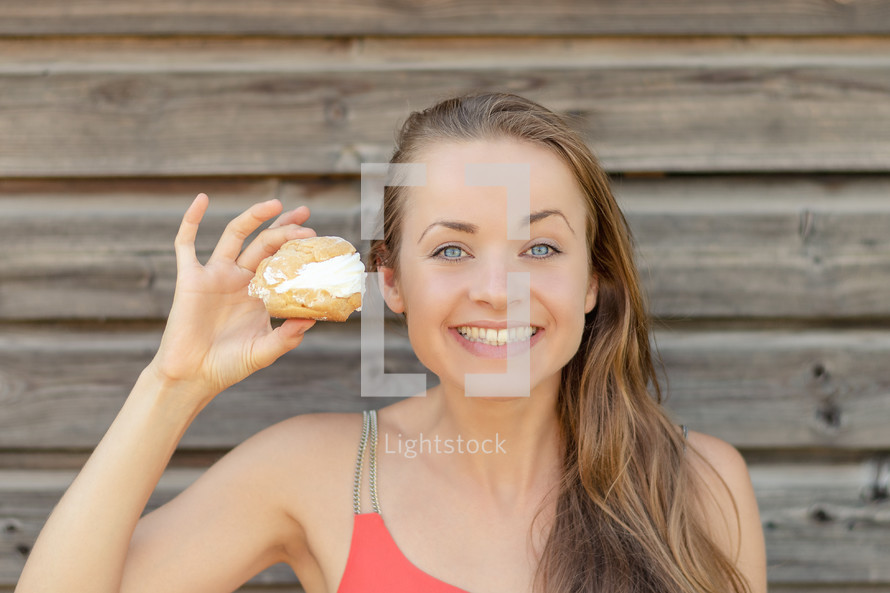 a woman eating sweets
