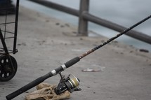 fishing pole on a pier