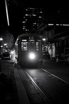 A streetcar at night.