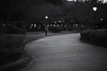 A winding sidewalk in a park at night.