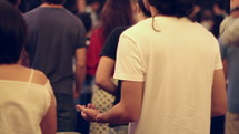 people in worship at a worship service