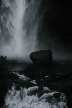 mist from a waterfall