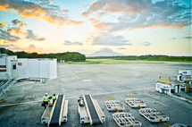 Airport in Dominican Republic at sunset