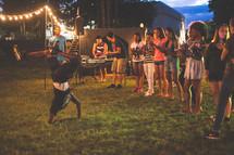 brake dancing at an outdoor concert