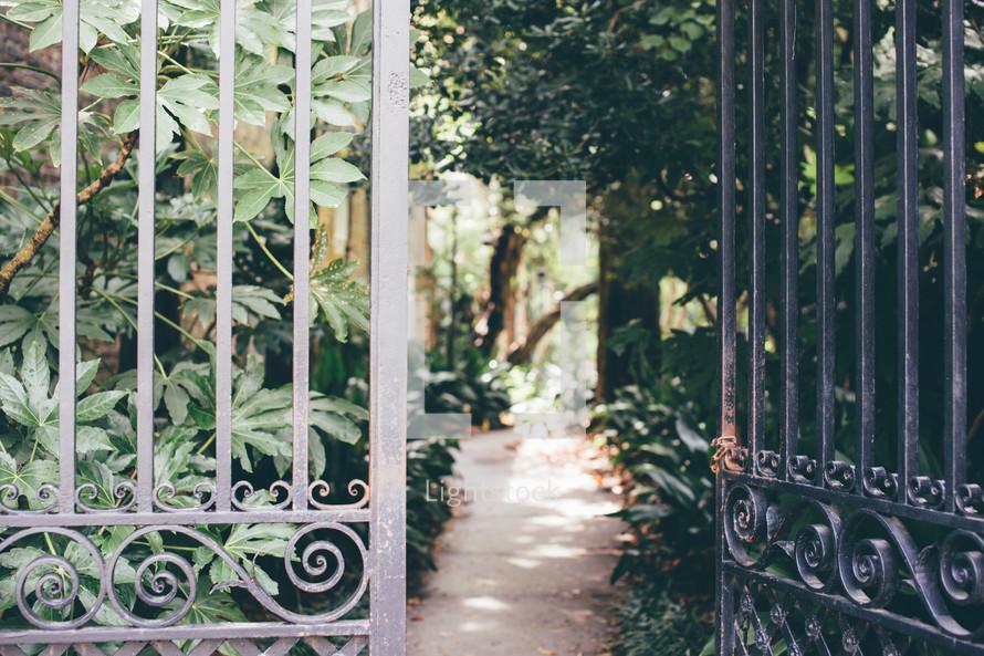 metal gates to a courtyard garden