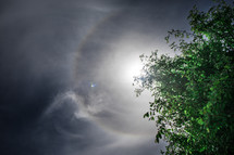 sun halo and clouds in the sky