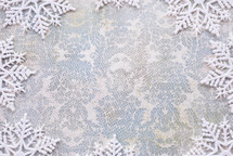snowflake border on patterned paper
