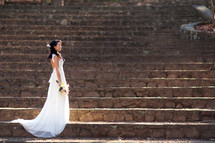 a bridal portrait on stairs