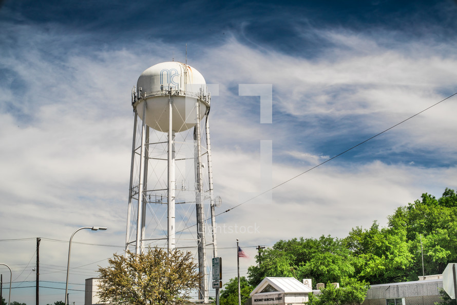 water tower in a rural town