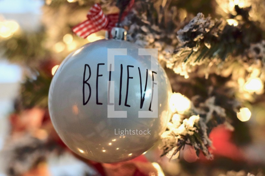 Believe ornament on a Christmas tree