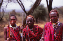Masai warriors with spears