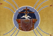 Painting of the Holy Spirit as a dove, Podgorica Orthodox Cathedral, Montenegro.