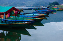 boats on the bay in Pokhara