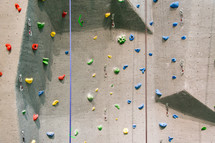 Close-up of a climbing wall.